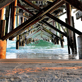 Under the pier by Charles Pfohl - Buildings & Architecture Other Exteriors ( long pier,  )