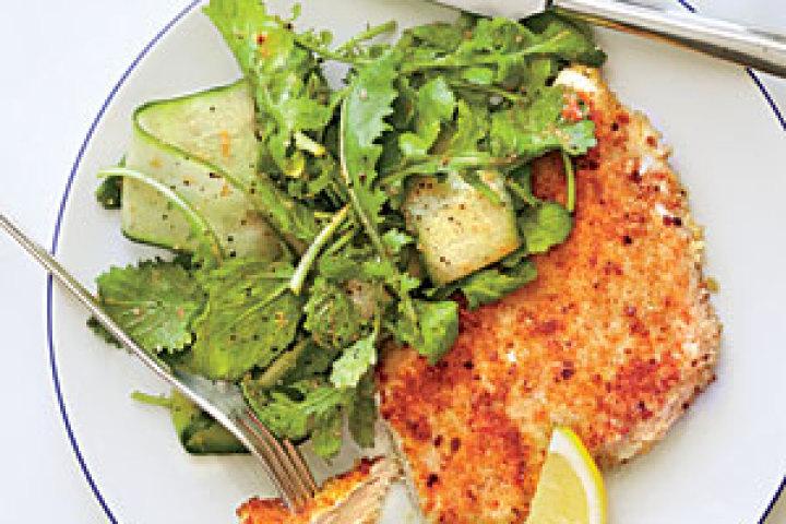 Parmesan Chicken with Arugula Salad and Tomato Vinaigrette Recipe ...