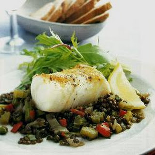 Cod with spicy Puy lentils