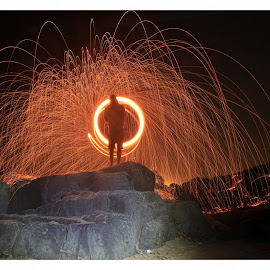 Sparks on the Rocks by Matthew Meuskens - Abstract Light Painting ( canon, led lenser, light painting, 600d, sparks, slow shutter, photography,  )