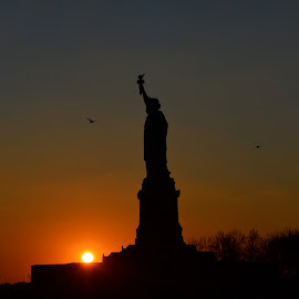 by Rob Kovacs - Buildings & Architecture Statues & Monuments ( water, no filter, statue of liberty, freedom, colors, sunset, new york, nyc, new jersey, hudson river,  )
