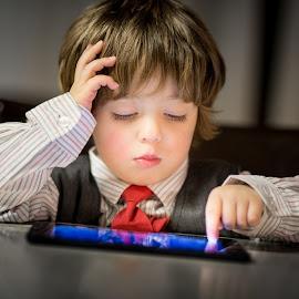 All Business by Mike DeMicco - Babies & Children Child Portraits ( intelligent, employment, tie, brainy, ipad, children, little, cute, business, child, suit, adorable, handsome, boy, vest )