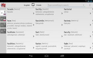 Screenshot of Dictionary Polish English