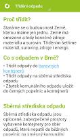 Screenshot of Třídění odpadu v Brně