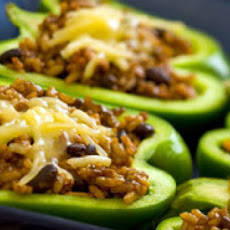 Simple Beans and Rice Stuffed Bell Peppers