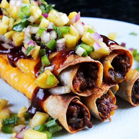 Cheesy Hawaiian BBQ Beef Taquitos with Pineapple Salsa