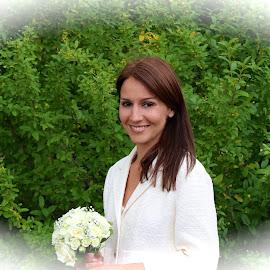 Bride in the garden by William Lanza - Wedding Bride ( bouquet, happy, wedding, white, bride, garden, smiling )