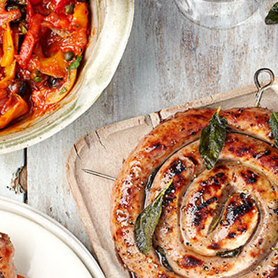 Grilled Sausage Wheels With Sage And Peperonata