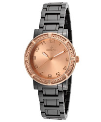 Invicta Women's Ceramics Rose Gold Dial Black Tone Ceramic