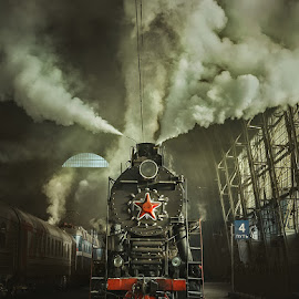 Old Soviet steam locomotive. by Dmitry Laudin - Transportation Trains ( steam locomotive, station )