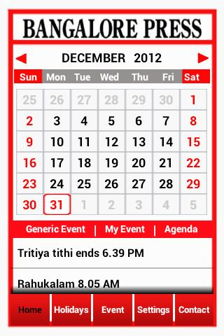 BANGALORE PRESS e-Calendar - Android Apps on Google Play