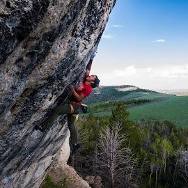 Ben climbing Bobcat Logic by Climb Globe - Sports & Fitness Climbing ( climbing, bobcat logic, wild iris, rock, rodeo wave, lander )