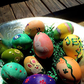 Basket of home-made real Easter Eggs by Tyrell Heaton - News & Events World Events ( easter, eggs, basket )
