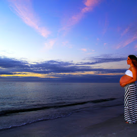 Serene Mother by Jay Wozniak - People Maternity ( maternity, mother, florida, sunset, baby, beach )
