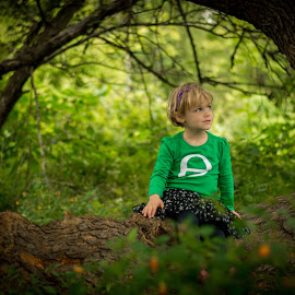 Tree Hugger by Brandi Davis - Babies & Children Children Candids ( sitting, girl, tree, outdoors, woods,  )