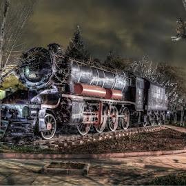 by Hasan Yılmaz - Transportation Trains ( time, owl, night, turkey, machine )