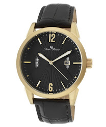 Lucien Piccard Men's Watzmann Black Textured Dial Black Genuine Leather LP-11561-YG-01 Watch