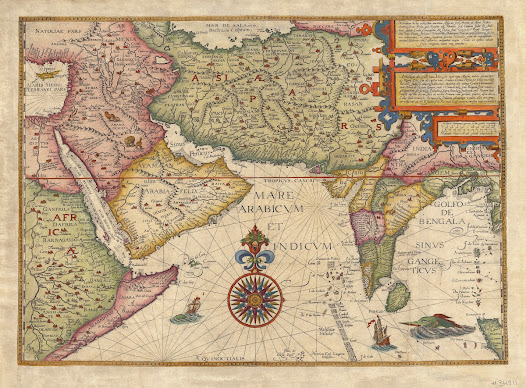 Jan Huyghen van Linschoten  <b>India and the Middle East</b> 1596. Copper engraving with hand colour, 43.6 x 59.5 cm.  Linschoten's beautiful map of India and the Middle East was at the heart of one of history's most consequential cases of espionage. Linschoten's maps and descriptions ensured that the Portuguese hegemony in India and East Asia would be challenged by other European powers.   This magnificent map embraces all of India, the Middle East and the northern Indian Ocean.  Based on secret Portuguese charts acquired by the Dutch adventurer and spy, Jan Huyghen van Linschoten, it presents the most accurate overall mapping of these regions published to date.