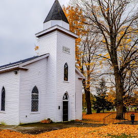 United Church Salem Ontario by Jack Brittain - Buildings & Architecture Places of Worship ( church, canada, autumn, ontario, architecture, salem, leaves )