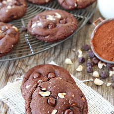 Double Chocolate Hazelnut Cookies with Sea Salt