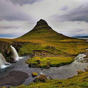 Kirkjufell by Roxie Crouch - Landscapes Mountains & Hills ( clouds, kirkjufell, iceland, triple, waterfall, mountian, river,  )