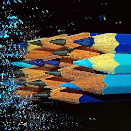 Pencil biru 3 by AbngFaisal Ami - Artistic Objects Other Objects ( blue, pencil, object )
