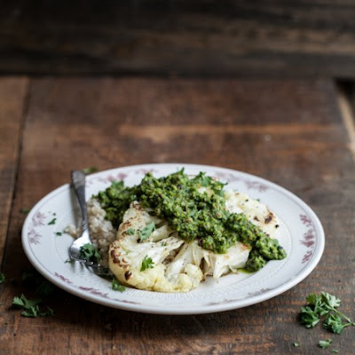 Cauliflower Steaks with Green Harissa and Brown Rice