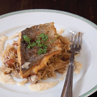 Sauerkraut with Fish in Cream Sauce