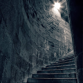 Stairway to Heathens by Nicolas Raymond - Buildings & Architecture Architectural Detail ( to, curve, old, bright, grungy, stone, architecture, glow, historic, aged, weathered, monochromatic, grunge, ancient, saint malo, heathens, dark, gloom, heathen, st, place, darkness, light, black, structure, worn, texture, white, steps, monotone, somadjinn, grime, stonework, landmark, european, staircase, conceptual, concept, monochrome, europe, brick, way, grimy, chilling, stairs, stairway, nicolas raymond, st-malo, long exposure, bricks, france, building, stair, hdr, architectural detail, spiral, saint, history, cyan, blue, lamp, stair-way, architectural, night, glowing, historical, saint-malo, malo, curved, medieval, step, gloomy,  )