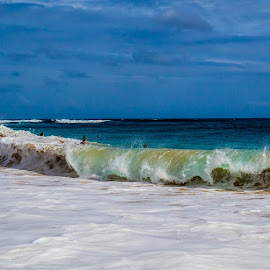 Gnarly Beach Break by Jason Rose - Landscapes Beaches ( sandys, sandy beach, body surfing, beach, oahu, hawaii, beach break )