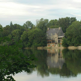 riverside reflections by Laurie Voyer - Buildings & Architecture Homes ( home, reflection, trees, landscape, river )
