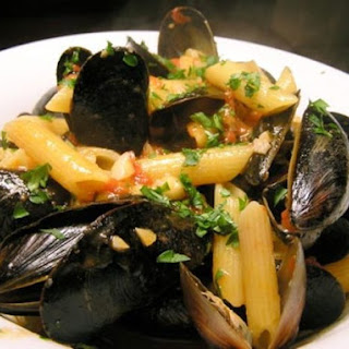Mussels with Tomato Broth and Penne