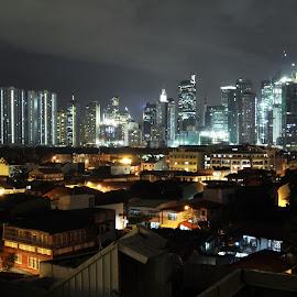 Neighborhood Skyline by Tope T - City,  Street & Park  Skylines ( night photography, long exposure, skylines, philippines, makati )