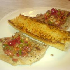 Griddled Pork Steaks Topped With Redcurrant Salsa