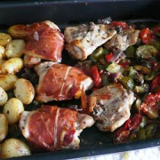 Parma-Wrapped Roasted Chicken with Mediterranean Vegetables
