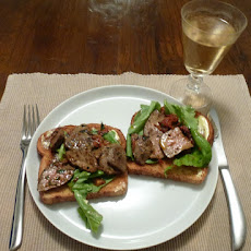 Pan-fried duck livers on wholemeal toast