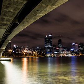 Perth by Night III by Dalibor Acimic - City,  Street & Park  Skylines ( clouds, skyline, perth, highway, reflections, swan river, night, bridge, city, river )