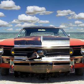 Supercar by Joerg Schlagheck - Digital Art Things ( car, orange, awesome, power, rough., beach, rusty, monkey,  )