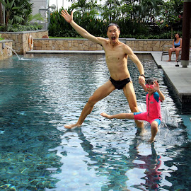 Walk by faith. by Leong Jeam Wong - Sports & Fitness Swimming ( hands, faith, pool, family, swimming,  )