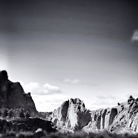 The Rock  by Dave Wells - Landscapes Deserts ( black and white, stone )