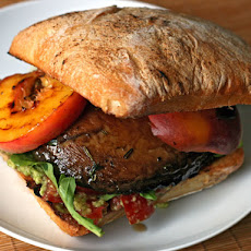Dinner Tonight: Grilled Portobello and Peach Sandwich