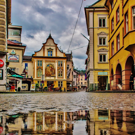 It´s raining again by Jesus Giraldo - Buildings & Architecture Homes ( reflection, concept, colorful, art, street, beauty, homes, city )