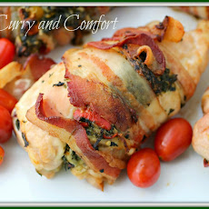 Spinach and Feta Stuffed Chicken wrapped in Bacon