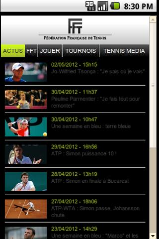 FFT French tennis mobile