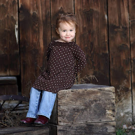 Country Girl by Skylar Marble - Babies & Children Toddlers ( child, ranch, little girl, girl, barn, little, children, cute, toddler, rustic, portrait, crates )