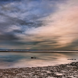 Moody sunset over Ryde by Kelly Murdoch - Landscapes Weather ( clouds, sand, reflection, sea, rock, beach, colours, sky, ztam photography, sunset, ryde, moody, isle of wight,  )