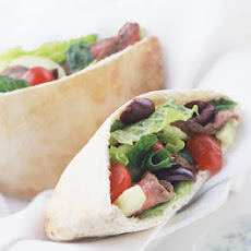 Lamb Souvlaki Sandwiches with Greek Salad and Tsatsiki Sauce