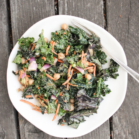 Raw Kale Salad With Spicy Peanut Vinaigrette