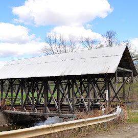 Covered Bridge by Janice Burnett - Buildings & Architecture Bridges & Suspended Structures ( open field, structure, covered bridge, white clouds, outdoors )