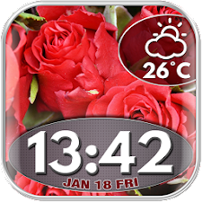 Roses Clock and Weather Widget